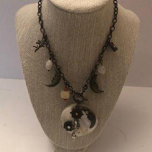 Vintage necklace choker/ genuine stones & shell